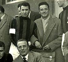 Ferdinando Valletti (a dx) con il capitano del Milan Bonomi
